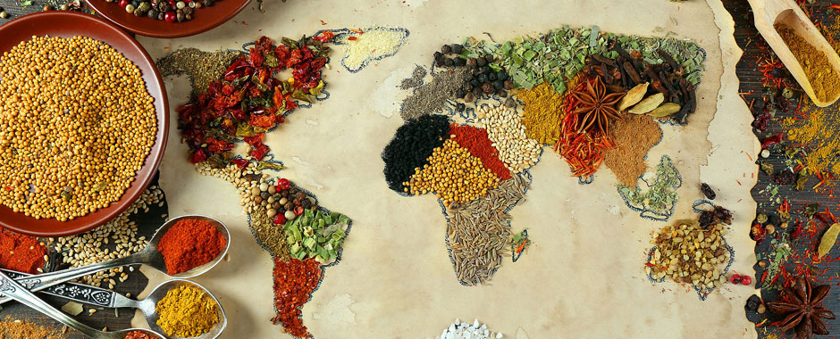 world map made out of food