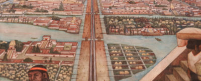 Painting of the pre-Columbian city of Tenochtitlan in Mexico.