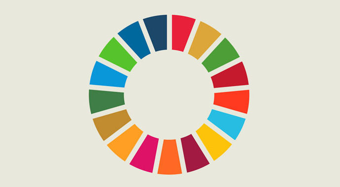 Round icon with colours representing the Sustainable Development Goals